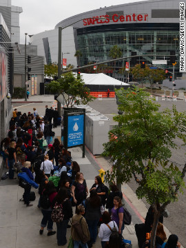 Crowds gather near the Staples Center to camp out for the premiere.
