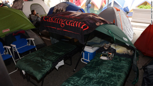 "Dedicated fans of ""The Twilight Saga"" are camping out near Los Angeles' Nokia Theater ahead of Monday's ""Breaking Dawn -- Part 2"" premiere. Activities such as a Twilight-themed workout, as well as performances by Christina Perri, Paul McDonald and ""Twilight"" actress Nikki Reed, will reportedly take place at Summit Entertainment's ""tent city,"" according to Deadline."