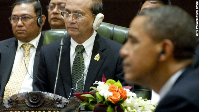 A file image shows U.S. President Barack Obama and Myanmar President Thein Sein at an ASEAN meeting in Bali, Nov. 2011.