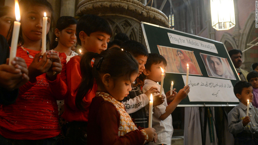 Pakistani Christians attend a prayer service for the recovery of teen activist Malala Yousufzai in Lahore on Sunday, November 11. Pakistan celebrated Malala Day on Saturday as part of a global day of support for the teenager shot by the Taliban.
