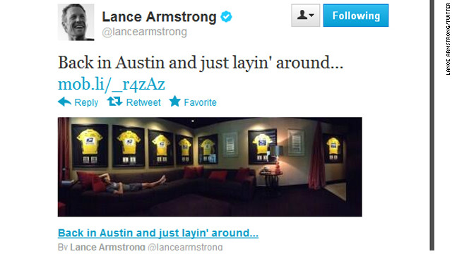 This post on Lance Armstrong's Twitter page has been met with a mix of outrage and applause by the online community.