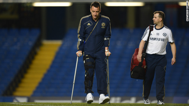 The veteran defender left Stamford Bridge on crutches after a short-lived return to the Chelsea line-up, and will have a knee scan on Monday.