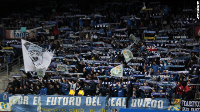 Real Oviedo fans show their support for the club in the Estadio Carlos Tartiere with a banner reading &quot;For the future of Real Oviedo&quot;. The third-tier club's financial problems are so great that they have turned to their fans for help, offering them the right to buy shares in Oviedo.