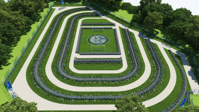 The cemetery will be laid out in the shape of a stadium, with the miniature pitch located at the centre.