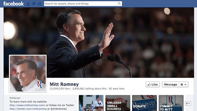 """A la gente """"ya no le gusta"""" Mitt Romney en Facebook"""