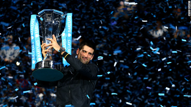 Novak Djokovic lifts the trophy at the 2012 ATP World Tour Finals after beating Roger Federer in a pulsating final. 
