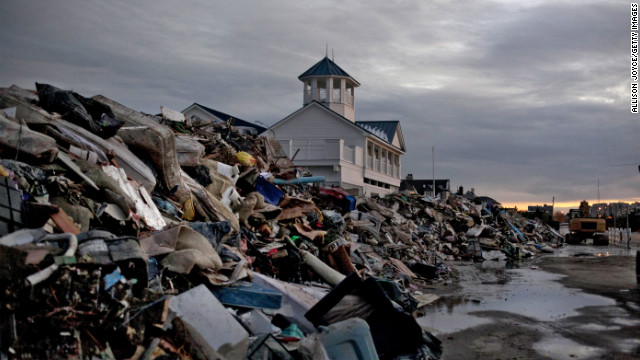 Debris from Superstorm Sandy is seen on Thursday in Long Branch, New Jersey.