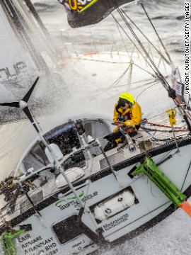 Among the sailors is Italian Alessandro Di Benedetto, who broke the record books in 2010 when he sailed the smallest boat around the world, measuring just 6.5meters.