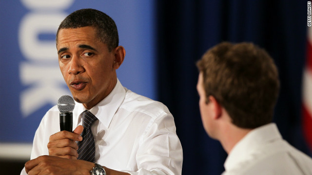 President Barack Obama talks with Facebook CEO Mark Zuckerberg during an event at Facebook headquarters in April 2011.