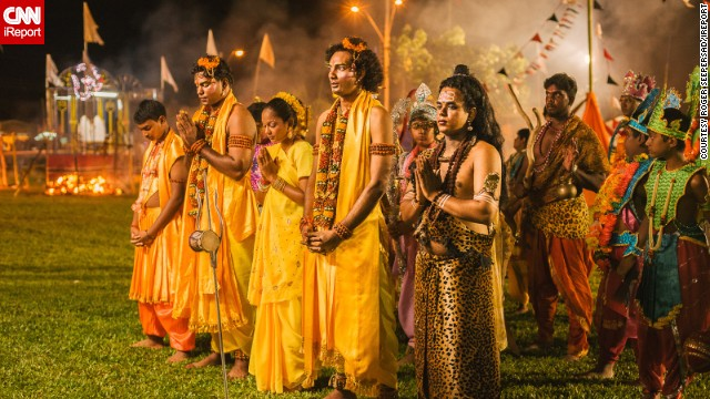 "For <a href='http://ireport.cnn.com/people/riche90210'>Roger Seepersad</a> from the Caribbean island of Trinidad, Diwali offers the perfect opportunity to snap some spectacular images. ""Diwali is special to me because being a photographer, I am into light. It is the Festival of Light,"" he says. This photo shows actors praying at the end of a re-enactment of the life of the Indian king Lord Ram. Seepersad says the play runs for two hours every night for ten nights in the run-up to Diwali."
