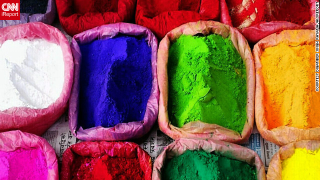 "This image of colorful powders, which are used to make rangoli artworks during Diwali, was snapped by iReporter <a href='http://ireport.cnn.com/docs/DOC-880606'>Digamber Singh Rayamajhi</a> as he walked through the busy streets of Kathmandu, Nepal. <!-- --> </br><!-- --> </br> ""As it is Diwali time the roads were bustling with people coming to shop,"" he says. ""There were lot of little street shops on the pedestrian foot paths selling candles, colors, spices. I thought it looked beautiful and I just clicked few pics through my cell phone."""