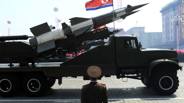 (File photo) A missile is displayed during a military parade in Pyongyang on April 15.