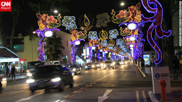 This photo of Serangoon Road, the main thoroughfare of Singapore's Little India, was snapped by &lt;a href='http://ireport.cnn.com/people/apsuresh2009'&gt;Suresh Adiyeri Paikat&lt;/a&gt;. Indians make up 8% of Singapore's population and just over 4% are Hindus, according to the Singapore government.