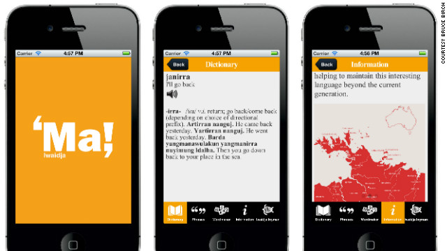 The app contains a 1,500 entry Iwaidja-English dictionary and a 450-entry phrase book that users can update. Its creators are working on a new Iwaidja Dictionary app which will focus on recording a range of information orally.
