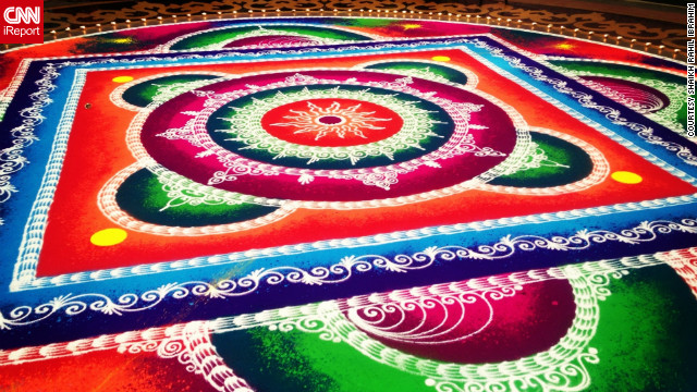This photo from instagrammer <a href='http://statigr.am/viewer.php#/user/26948557/' target='_blank'>Shaikh Rahil Ibrahim</a> shows a large colorful rangoli in a shopping mall in Mumbai, India. Rangoli artworks are a common site outside Indian homes and in public spaces throughout Diwali.