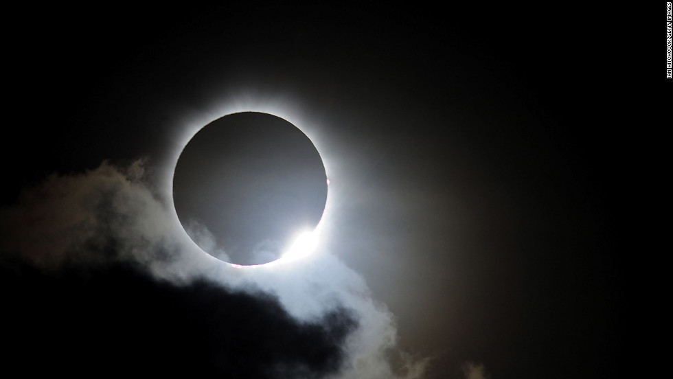 Near totality is seen during the solar eclipse at Palm Cove on Wednesday, November 14, in Palm Cove. Thousands of eclipse-watchers gathered in part of North Queensland to enjoy the solar eclipse, the first in Australia in a decade.