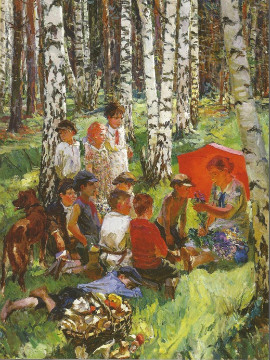 This is a 1937 painting by Arkady Plastov, called ``Lesson in the Forest.&quot; Painters from the Soviet Union-era have been praised for their artistry despite living under a repressive regime. 