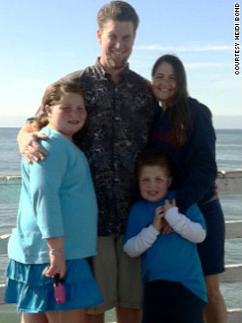 The Bond family, from left, Breanna, Dan, Nathan and Heidi, take a photo at Pismo Beach in California.
