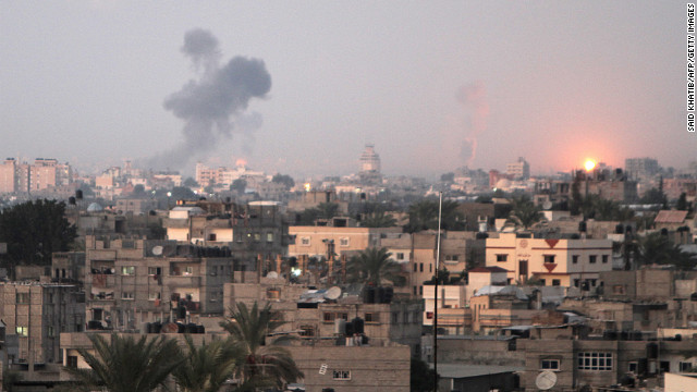 Smoke rises following an Israeli airstrike Wednesday in Khan Younis, Gaza.