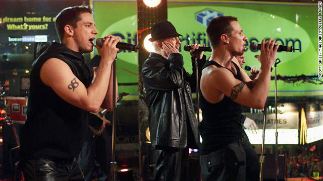 98 Degrees, pictured performing in 1999, included brothers Nick and Drew Lachey, Justin Jeffre and Jeff Timmons. The group released three albums, in addition to one Christmas album, between 1997 and 2000.