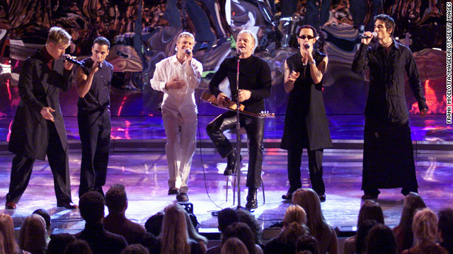 "In 1996, the Backstreet Boys (shown here performing with Sting in 2000) released their debut album. ""Backstreet's Back,"" ""Millennium,"" ""Black & Blue,"" ""Never Gone,"" ""Unbreakable"" and ""This Is Us"" followed. After parting with the group years ago, Kevin Richardson rejoined A. J. McLean, Howie Dorough, Brian Littrell and Nick Carter. They're currently working on a <a href='null'>new album</a> for 2013. In the meantime, check out BSB's new holiday song, <a href='null'>""It's Christmas Time Again.""</a>"