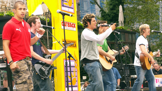 "Erik-Michael Estrada, Jacob Underwood, Trevor Penick, Dan Miller and Ashley Parker Angel of the group O-Town perform in 2002. The group, which came to be thanks to the first season of MTV's ""Making the Band,"" is perhaps best known for releasing the single ""Liquid Dreams"" in 2000."