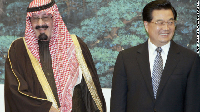 King Abdullah of Saudi Arabia and Chinese President Hu Jintao attend a ceremony in Beijing in 2006.