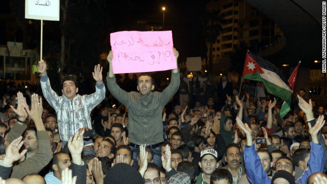 Jordanian protestors demonstrating in Amman following an announcement that government would raise fuel prices.