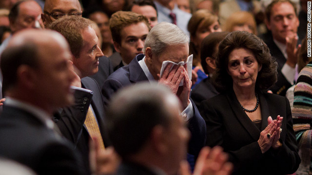 Charles Stanley cries as First Baptist Church Atlanta members honor him for his 80th birthday, while his only son, Andy, stands at his side. To honor his father that day, Andy did something remarkable when he walked onstage to preach -- he wore a suit and tie. The congregation cheered when Andy pointed to his tie.