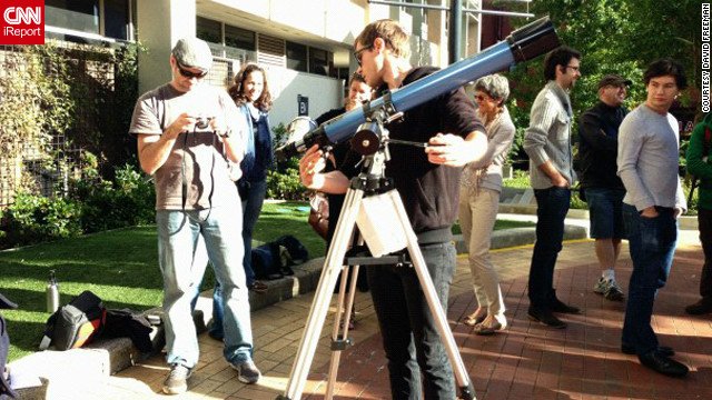 "Staff and students used the campus at Swinburne University in Melbourne, Australia, to hook up telescopes and camera equipment to capture the eclipse, says <a href='' target='_blank'>Kim Tairi</a>. ""We have a center for astrophysics and supercomputing here ... [so we] set up an area on campus [where] people could come past and get a look at the eclipse,"" she says."