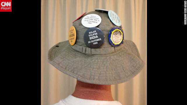 "This was the thirteenth time ""professional eclipse chaser"" <a href='http://ireport.cnn.com/people/Borealguy'>Mike Smith</a> has witnessed a total eclipse. The badges on his hat commemorate each of his previous experiences. ""We viewed this one from Green Island, which is 25 kilometers off the coast of Cairns as we were warned it was going to be cloudy on land,"" he says. ""The eclipse was as unique and beautiful as ever."""