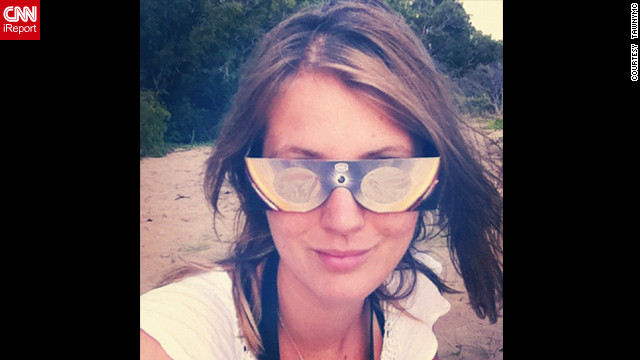 "Instagrammer <a href='http://statigr.am/viewer.php#/user/5591381/' target='_blank'>Tawnymc</a> had style and concept covered with these chic glasses as she settled in to watch the eclipse from Buchanon Beach near Cairns. ""(They) were amazing, we could see the moon move across the sun and we shared them around the beach - they were just $10 too,"" she says."