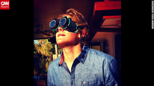 """To see the solar eclipse, I used some welding goggles,"" says Daniel Christiansen from Australia's Gold Coast. ""I think the photo is kinda cool because it's this futuristic horror look ... and the sun's limited lighting is creating a unique darkness."""