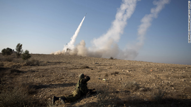 The Israeli military launches a missile Thursday from the southern city of Beersheba.
