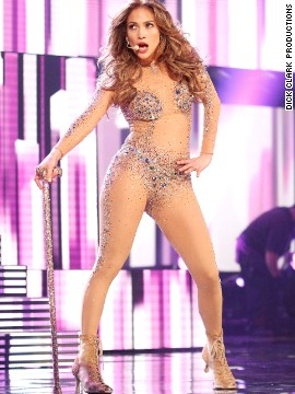 A scantily clad Jennifer Lopez performed &quot;On the Floor&quot; at the 2011 show.