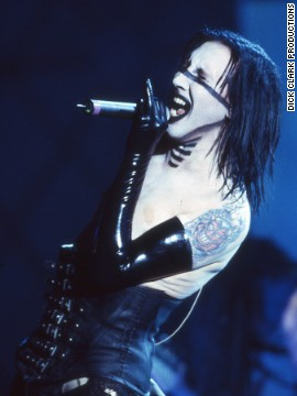 "Marilyn Manson performs ""Disposable Teens"" in 2000."