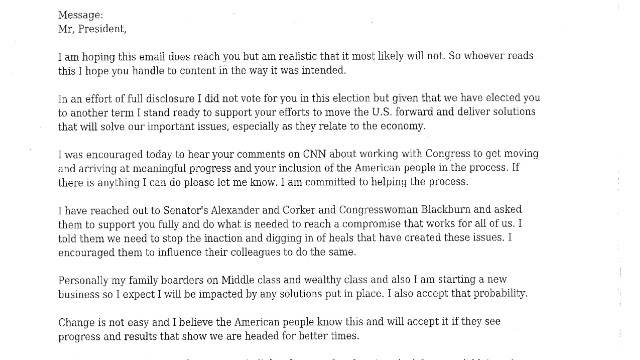 Letter to President Obama