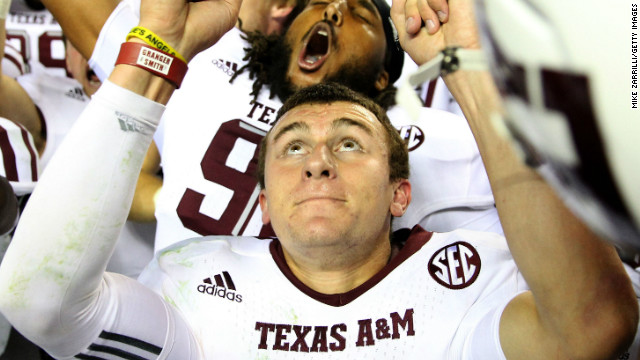 "Texas A&M quarterback Johnny ""Football"" Manziel"