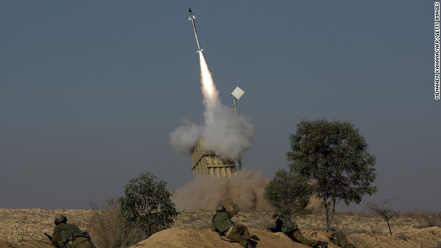 The Israeli military launch a missile from the Iron Dome missile system in the southern Israeli city of Beer Sheva into the Gaza Strip on November 15.