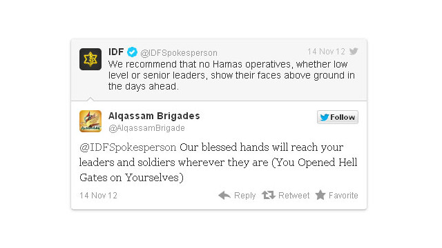In November, missile strikes between Israel and Palestinian forces in Gaza were accompanied in real time by boasts and threats on Twitter. The exchanges between the IDF and Hamas during a military conflict were called an unprecedented use of social media.