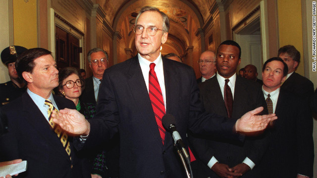 "Days before the House voted to impeach President Clinton, Rep. Bob Livingston, R-Louisiana, admitted to cheating on his wife. <br/><br/>On the day of the impeachment vote, Livingston, a Republican who was to succeed Newt Gingrich as Speaker of the House, announced he would resign from Congress in six months. He urged Clinton to do the same. ""I must set the example that I hope President Clinton will follow,"" he said."