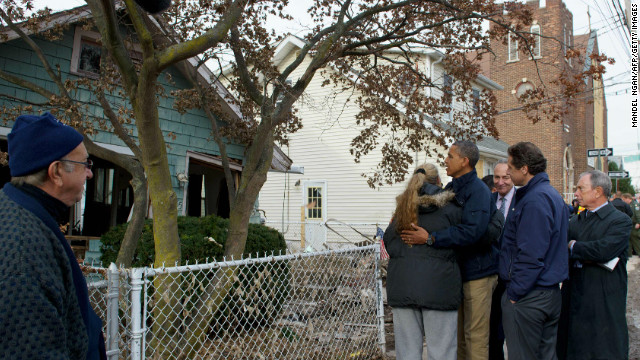 President Barack Obama tours storm-damaged Staten Island, New York, in November.