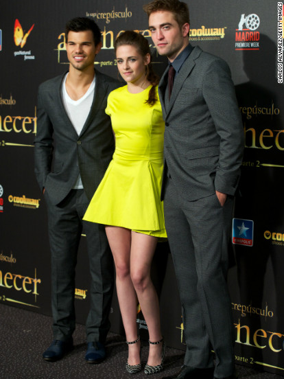 "Taylor Lautner, Kristen Stewart and Robert Pattinson attend the ""Breaking Dawn - Part 2"" premiere in Madrid, Spain."
