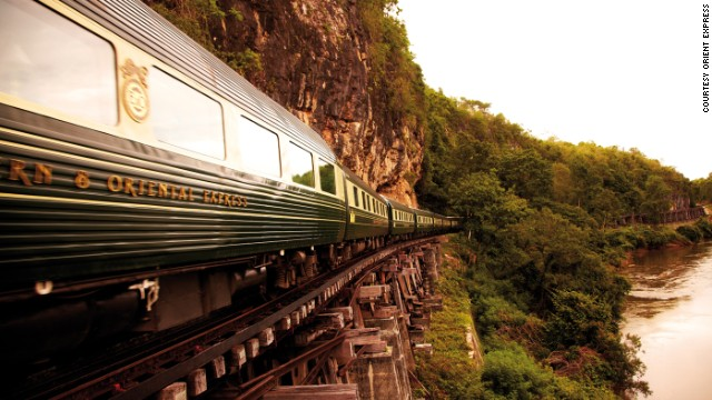 The Eastern & Oriental Express offers a seven-day, six-night journey complete with a resident pianist in its bar car.