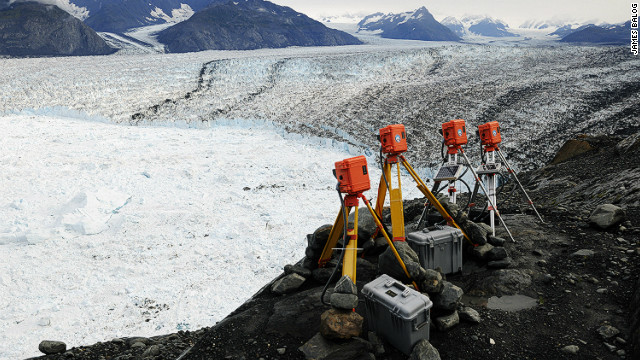 "EIS time lapse cameras at Columbia Glacier, Alaska, Aug 2009. ""I never really expected to see this magnitude of change. Every time we open the backs of these cameras it's like 'wow, is that what's just happened,'"" Balog said. <i>Courtesy of James Balog</i><br/><br/><i></i>"