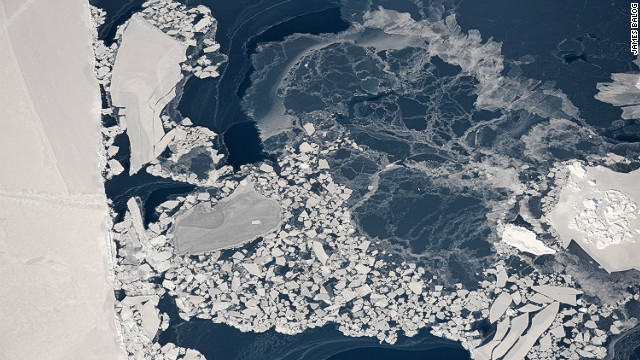 Aerial view of pancake ice, Ilulissat Isfjord, Greenland, March 2008. <i>Courtesy of James Balog</i><br/><br/><i></i>