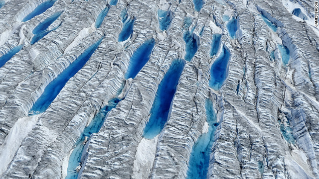 Aerial view of meltwater on Greenland Ice Sheet, June 2010. <i>Courtesy of James Balog</i>