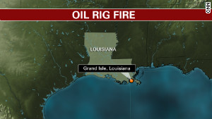 An oil rig in the Gulf of Mexico near Grand Isle, Louisiana caught fire after an explosion on Friday, November 16, 2012, leaving at least 2 workers are missing according the USCG.