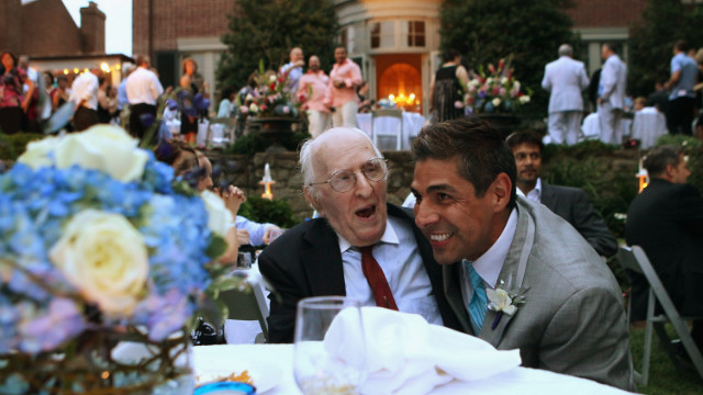 In 2010, television reporter Roby Chavez, right, shares a moment with gay rights activist Frank Kameny during Chavez and Chris Roe's wedding ceremony in the nation's capital. Same-sex marriage became legal in Washington in March 2010.