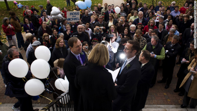 Michael Miller, left, and Ross Zachs marry on the West Hartford Town Hall steps after same-sex marriages became legal in Connecticut in 2008.